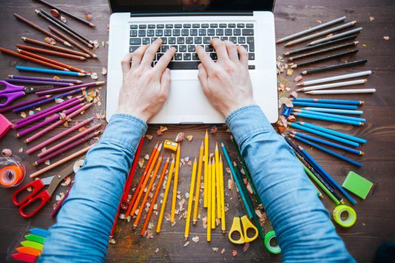 artist using laptop